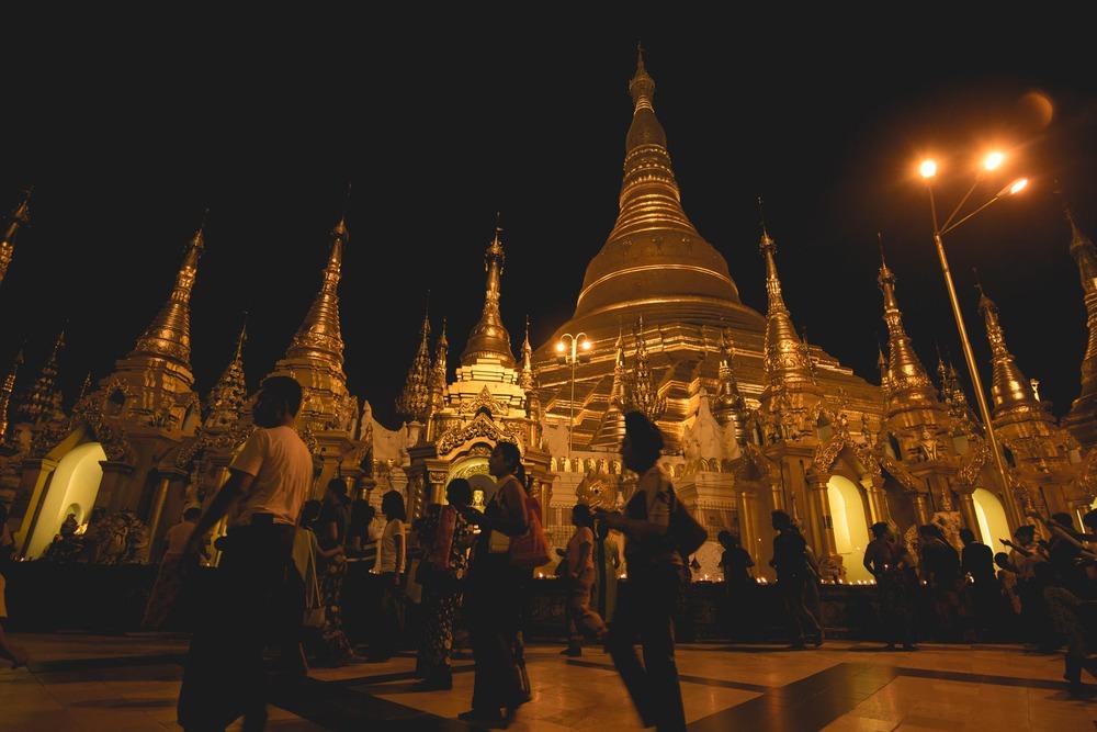 The giant Shwedagon pagoda at night in Yangon. Myanmar