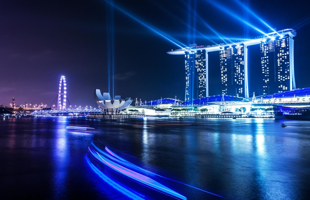The Marina Bay Sands hotel's light show at night in Singapore.