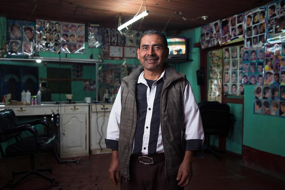 Don Pedro, a barber in Nebaj. Guatemala.