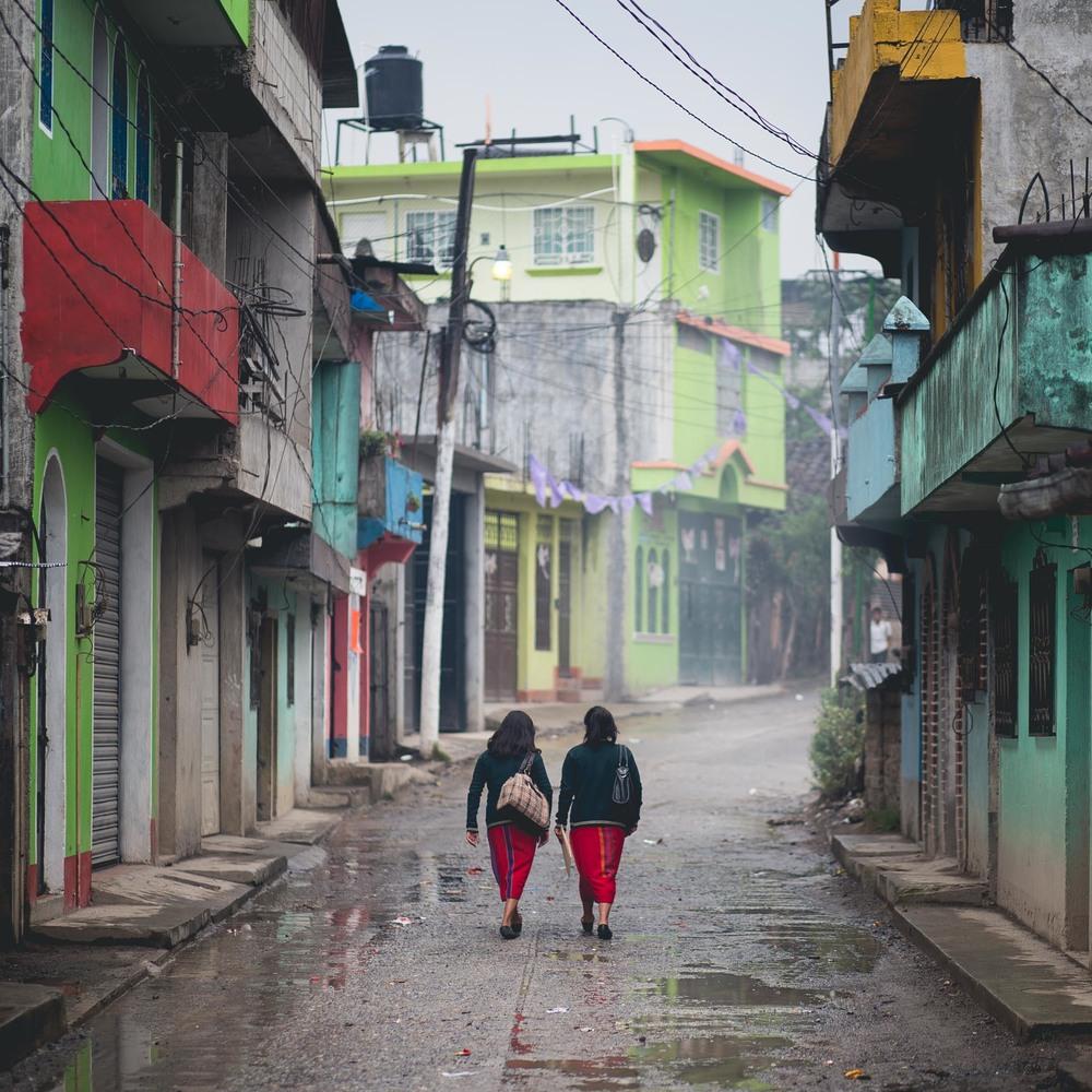 Ixil students in Nebaj after leaving class. Guatemala.