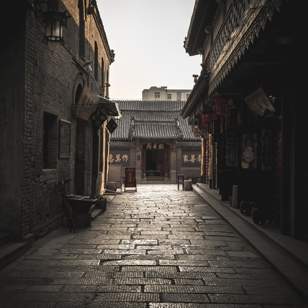 Traditional buildings on the old silk road at Zibo. China