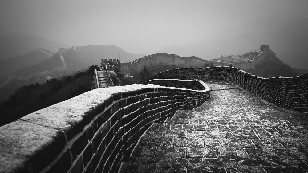 The Great Wall of China in the snow.