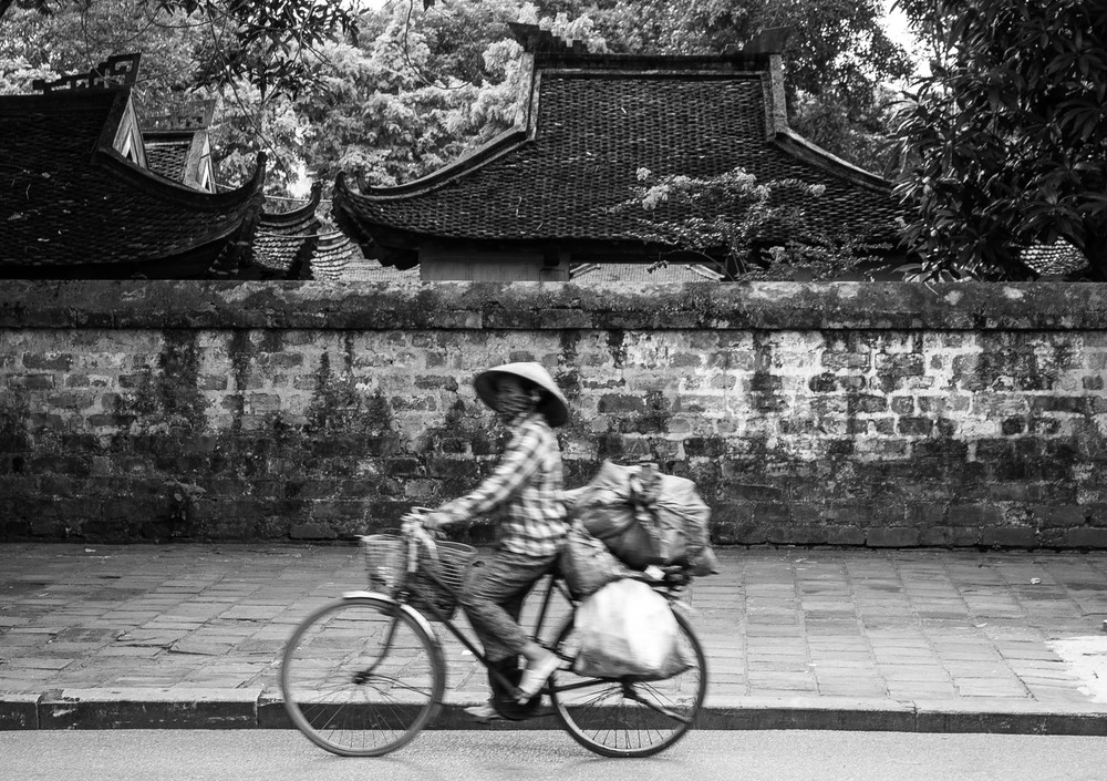 Cyclist in the streets of Hanoi. Vietnam