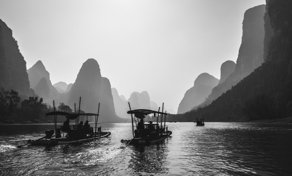 Rafts on the Li River. China
