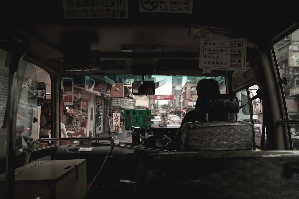 Inside a local minivan bus in Hong Kong