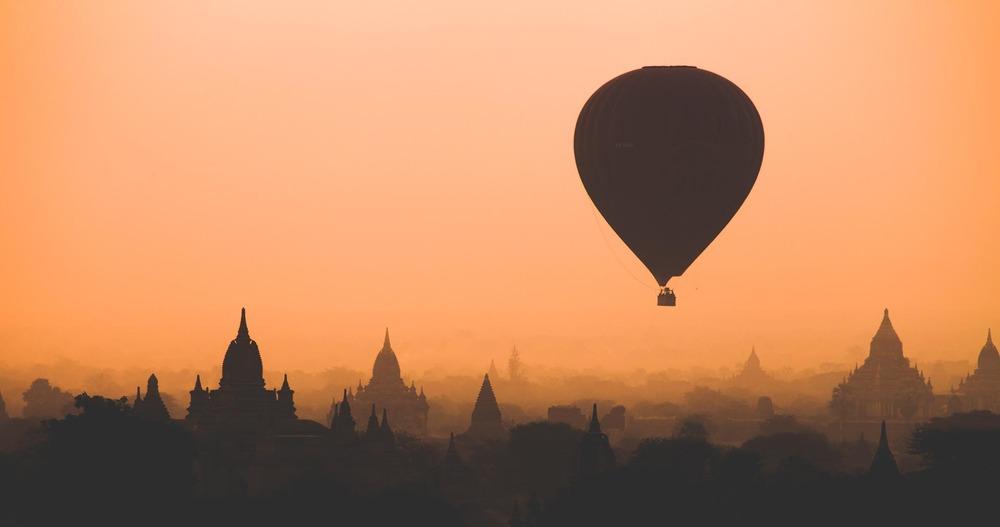 Hot air balloon over Bagan at sunrise. Myanmar