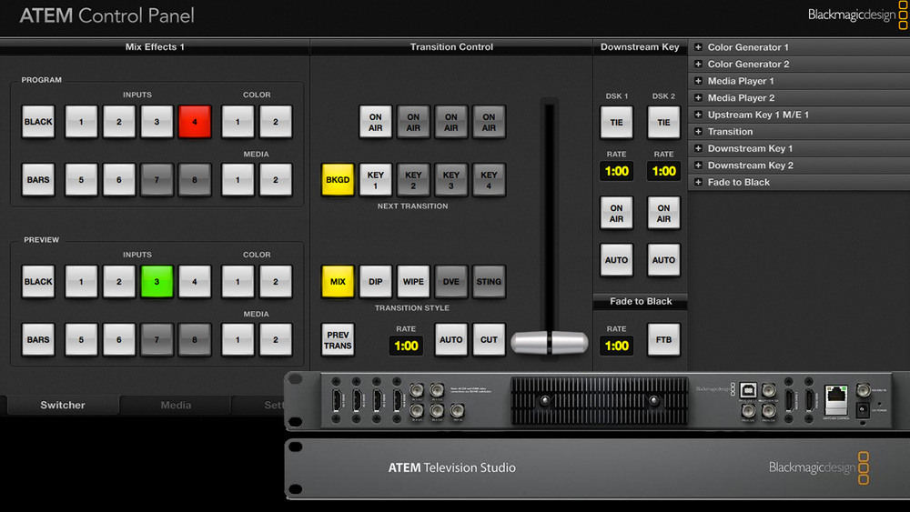 Blackmagic ATEM Television Studio for Live Video Production control