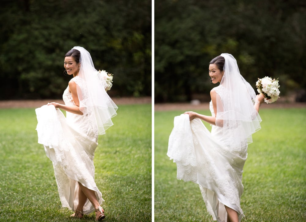 Solo Bride Holding Her Dress In Fields Descanso Gardens