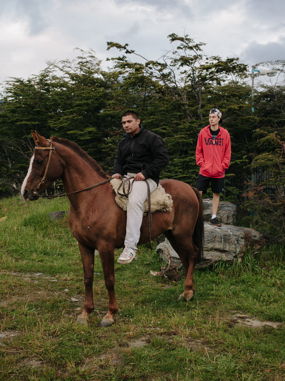 """Marco and Gabriel live in the eastern part of Ushuaia, in a district called 'Barrio 640'. """" We have six horses """" says Marcos. """" Oh cool, to work the fields? """" """" Naah, just as pets. People have dogs, we have horses """"."""