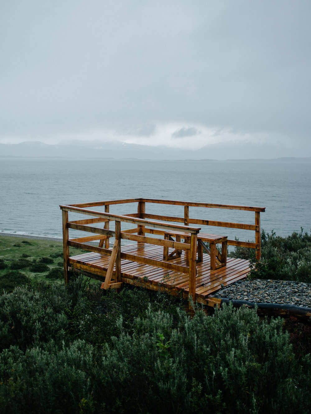 An isolated lookout over the Beagle Channel.