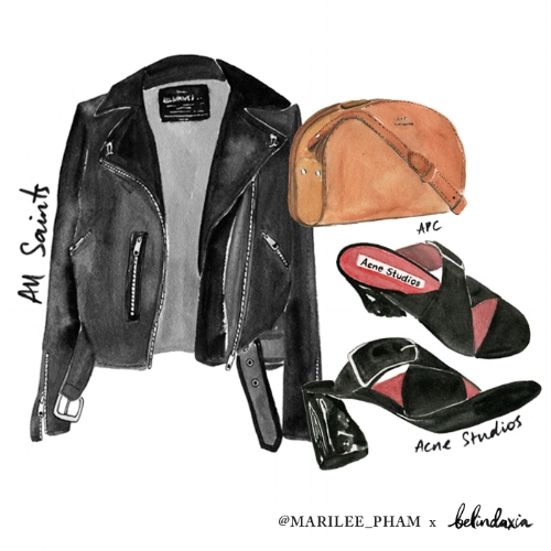 All Saints leather jacket ,  APC Half Moon bag ,  Acne mules .