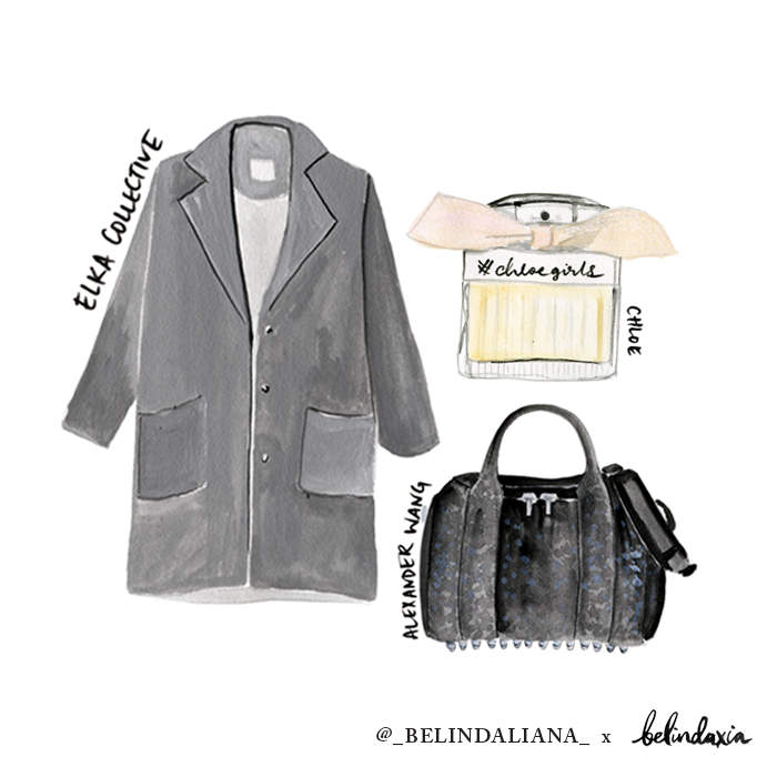 Elka Collective Coat  (sold out),  Alexander Wang Rockie bag ,  Chloe perfume .