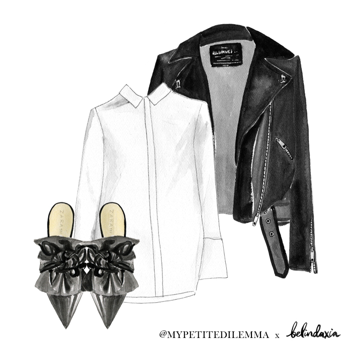 Zara bow mules ,  Hansen & Gretel shirt ,  All Saints jacket