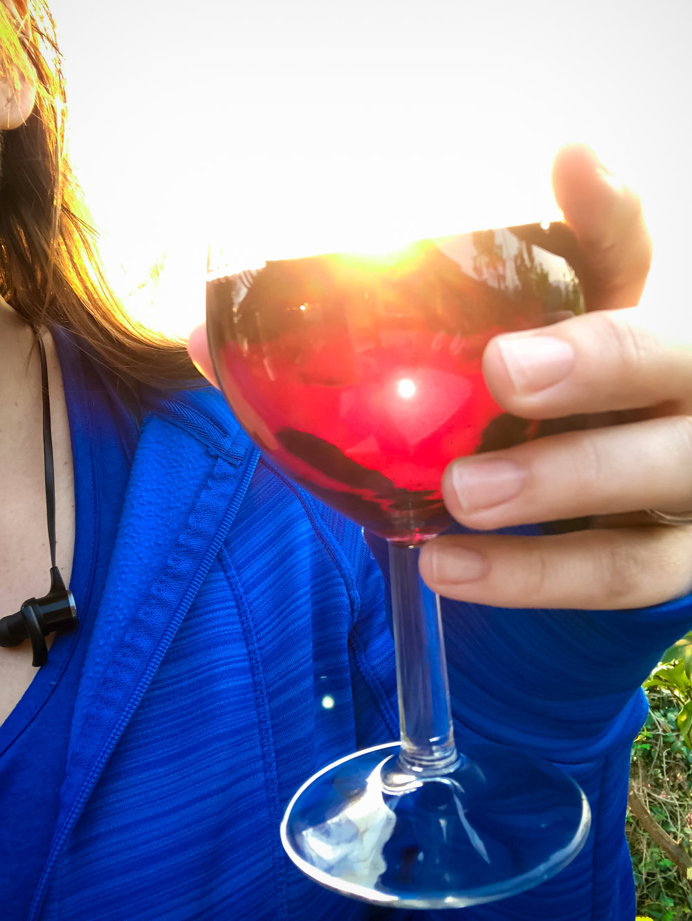 The sun setting  through  my wine glass!