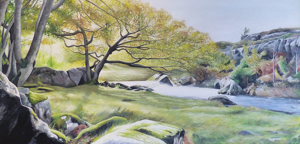 By the Shade of the Waterfall -  Price on applicationOil on canvas45cm x 95cmUnframed (Box canvas)