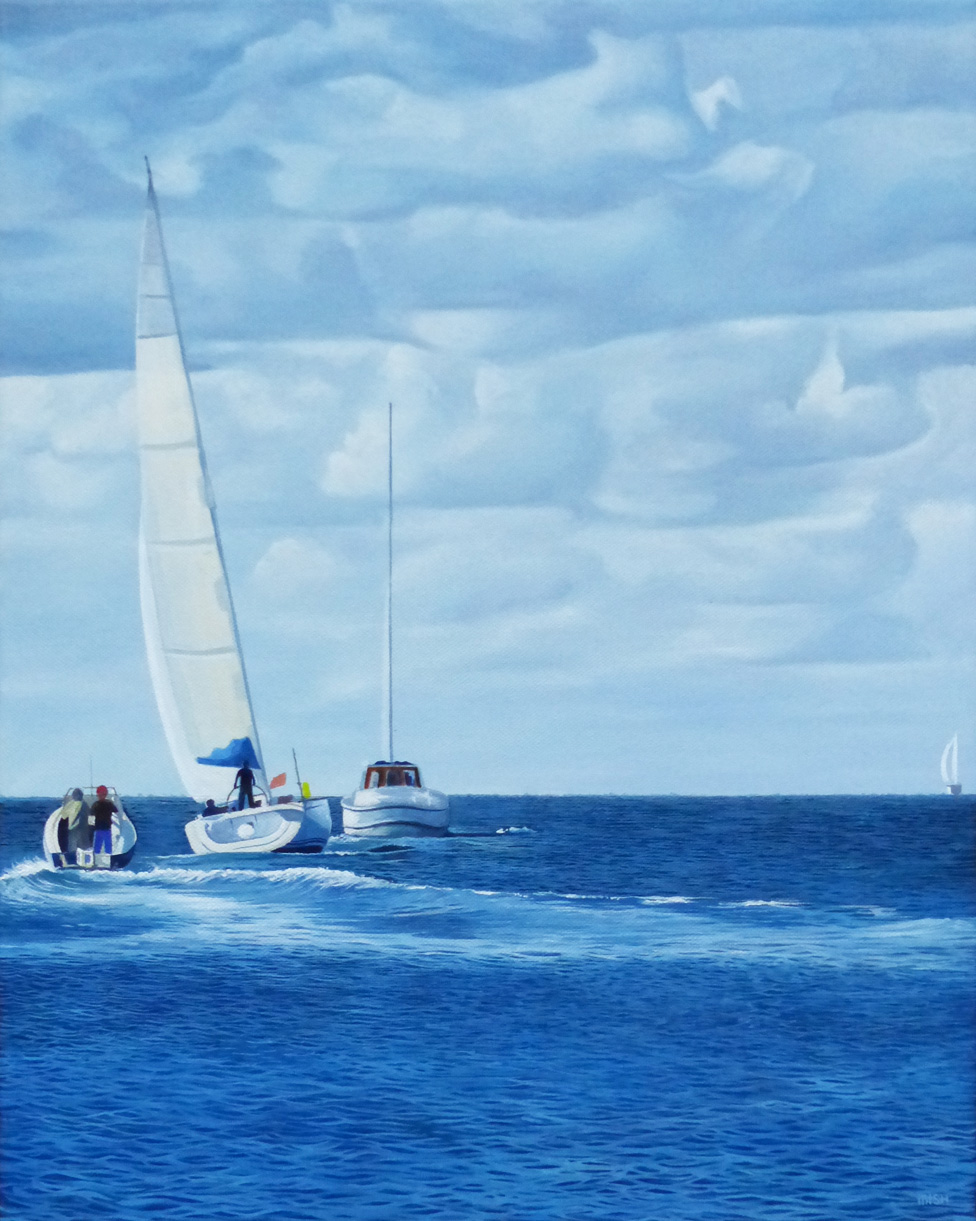 Ealy Sails - Price on applicationOil on canvas45.5cm x 35.5cmUnframed