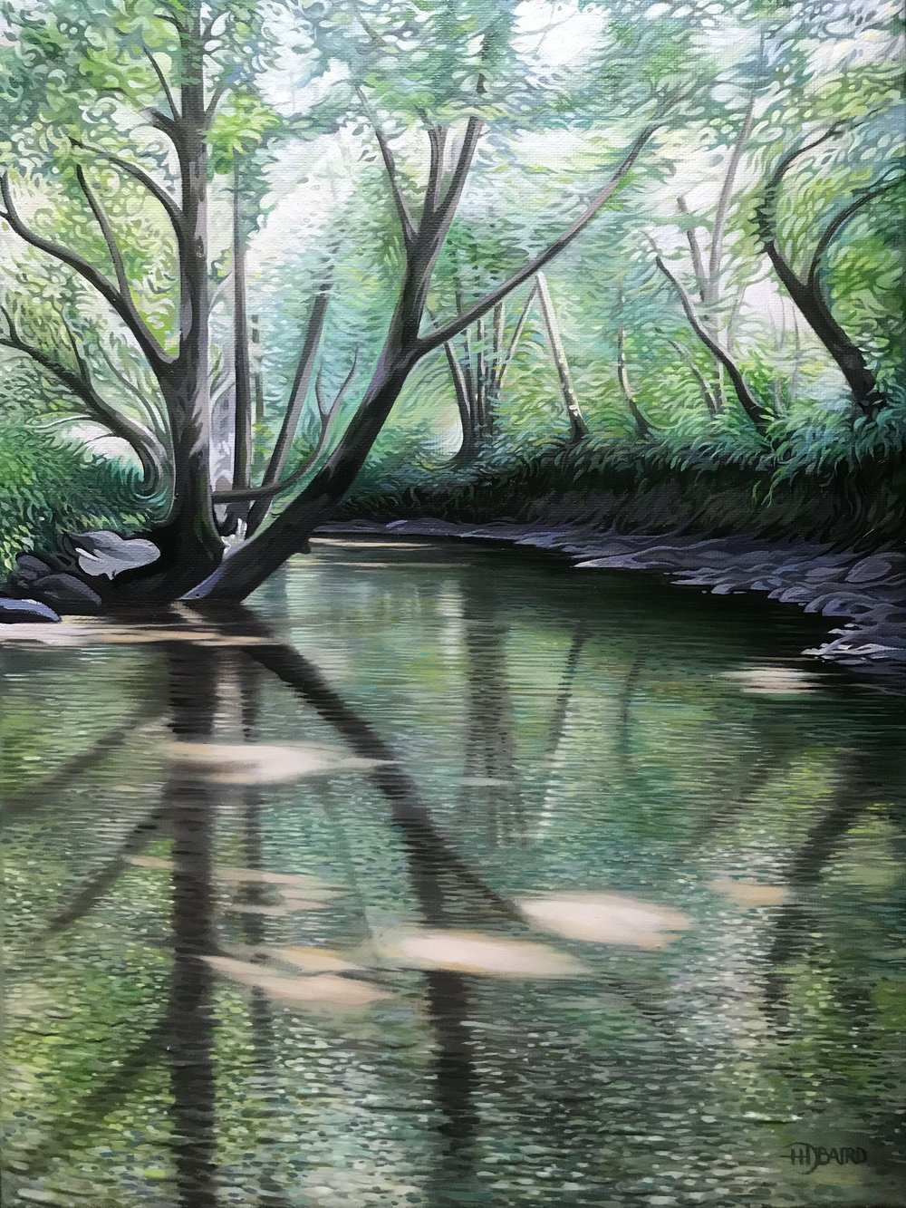 'In the Shade of the Riverbank' - Oil on canvas    Price on   Application