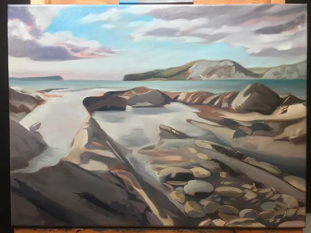 Blocking in stage of a new painting based on Worbarrow Bay in Dorset. #hamishbaird_painting #worbarrowbay #dorsetartist #dorsetcoastline