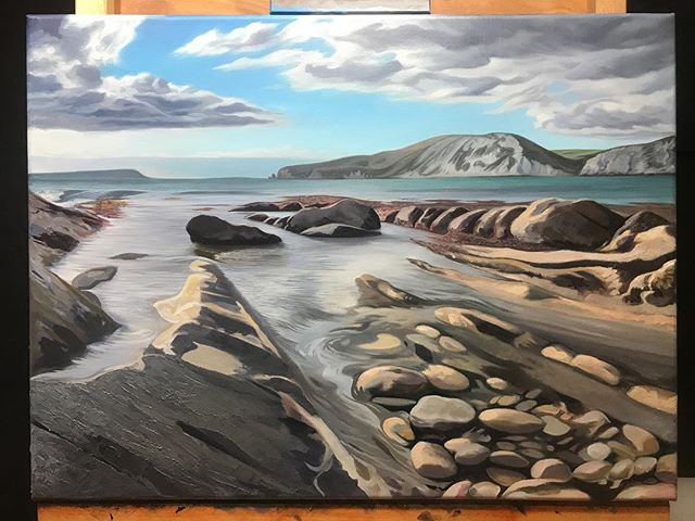 Day 4 of the Worbarrow Bay painting. Another two days and it should be done. #hamishbaird_painting #worbarrowbay #dorsetartist #jurassiccoast