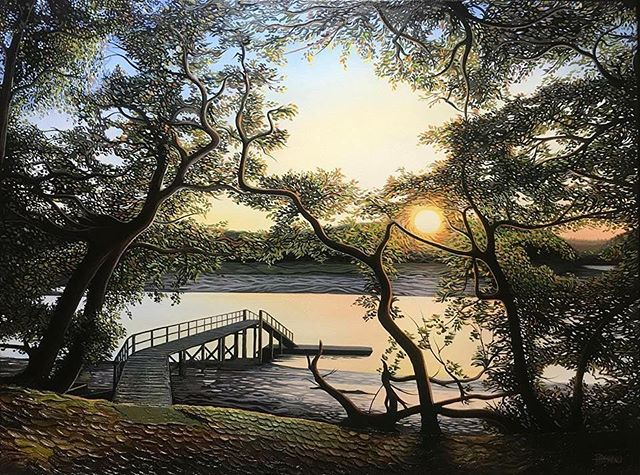 Here's another painting I completed recently. 'Sunset by the Beaulieu' - Oil on canvas - SOLD #hamishhbaird_painting #hamishbaird #beaulieu #sunset_painters #art