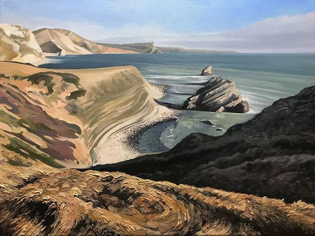 Part 2. Managed to put a few more hours in on this one today. It's coming along... #hamishbaird_painting #dorset #mupebay #painting