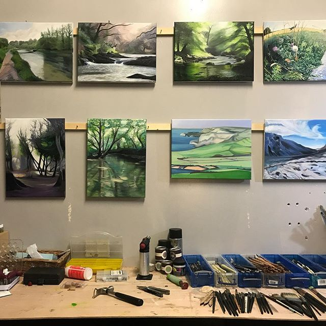 In preparation for my last exhibition all paintings were removed from the studio. It's great to see the walls gradually filling up again. #artstudio #painting #landscapepainting #hamishbaird #hamishbaird_painting