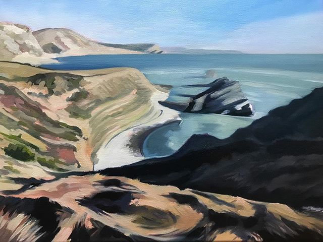 Part 1. First 'blocking in' stage of a new painting based on Mupe Bay in Dorset. Loving this stretch of coastline, so a few more pics of this location to come. #hamishbaird_painting #mupebaydorset,