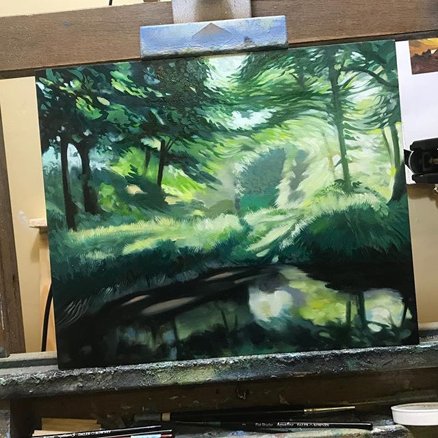 Another little study of first light on the River Bride (ongoing) #riverbride #firstlight #painting #hamishbaird #hamishbaird_painting