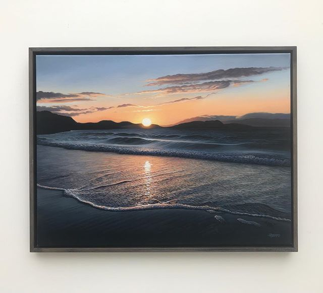 Makes such a difference when they're framed. 'Last of the Light' no.1 - oil on linen - 46cm x 61cm (POA) - To be exhibited at Dorset Arts Weeks (venue 185) #dorsetartsweek2018