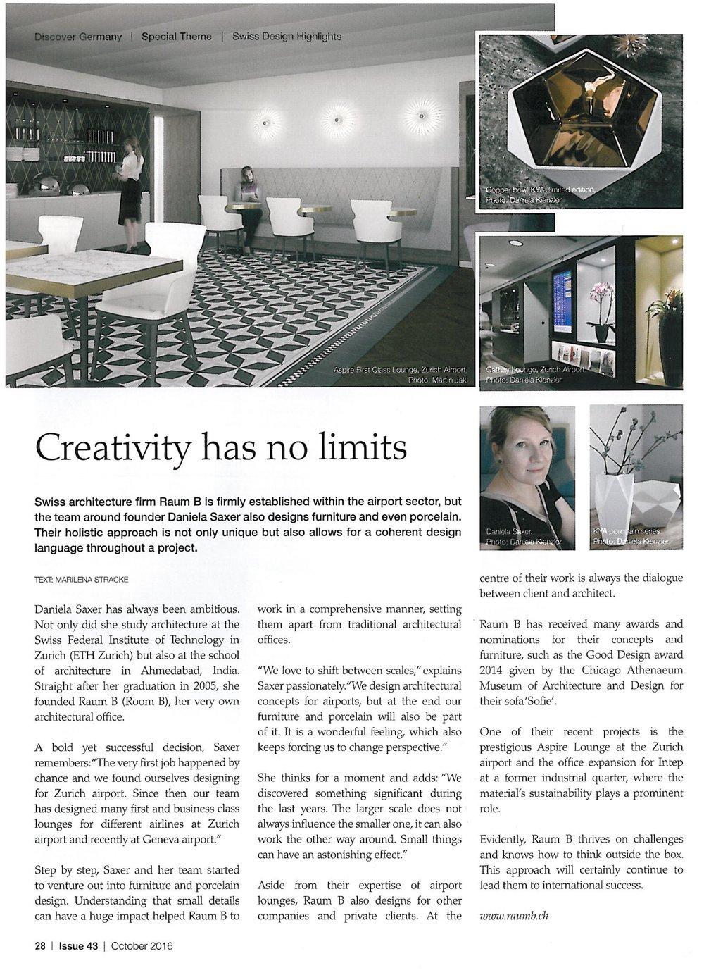 Creativity has no limits   Issue 43, October 2016, S. 28