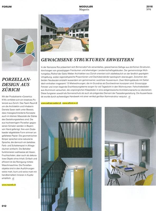 Porzellan-Design aus Zürich   Modulor Magazin, Forum, No. 8 2016, S. 12