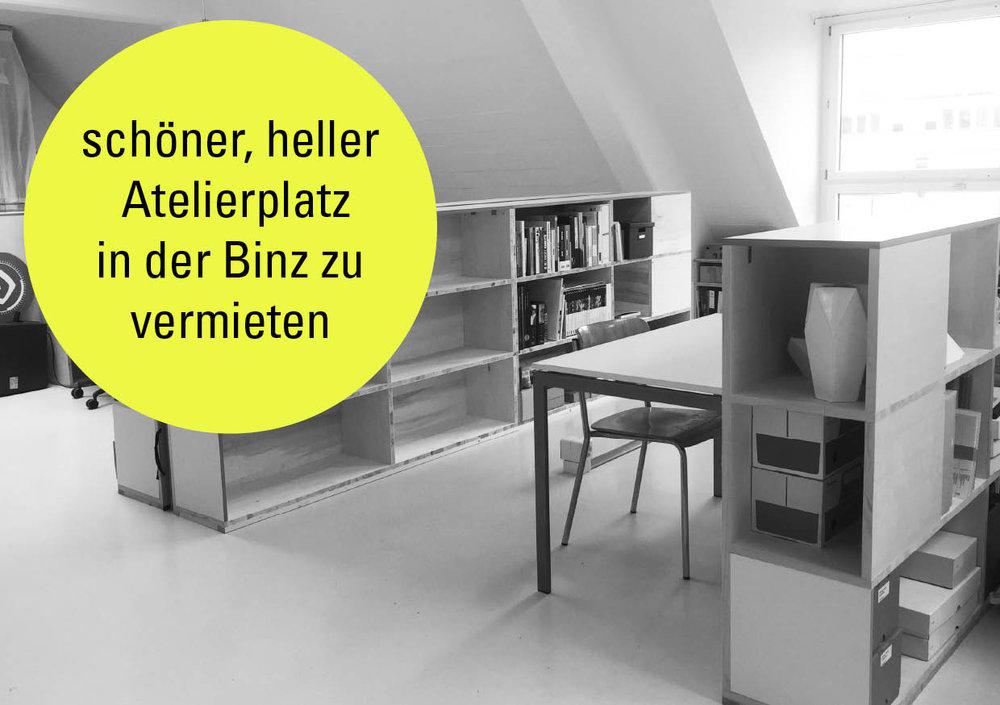 Freier Atelierplatz in der Binz per sofort - Die Ateliergemeinschaft an der Grubenstrasse 11 in der Binz vermietet per sofort oder nach Vereinbarung einen Atelierplatz. Alle Informationen findest du im PDF.Wir freuen uns, dich kennenzulernen!