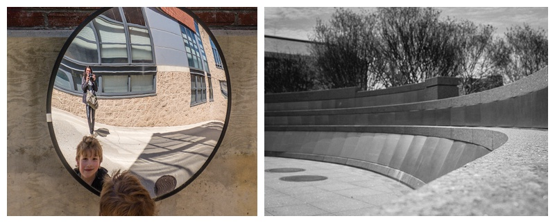 """The boy in the mirror"" and ""Memorial Curve"".  Both photos, (c) Rebecca LaChance, 2015. Washington, D.C."