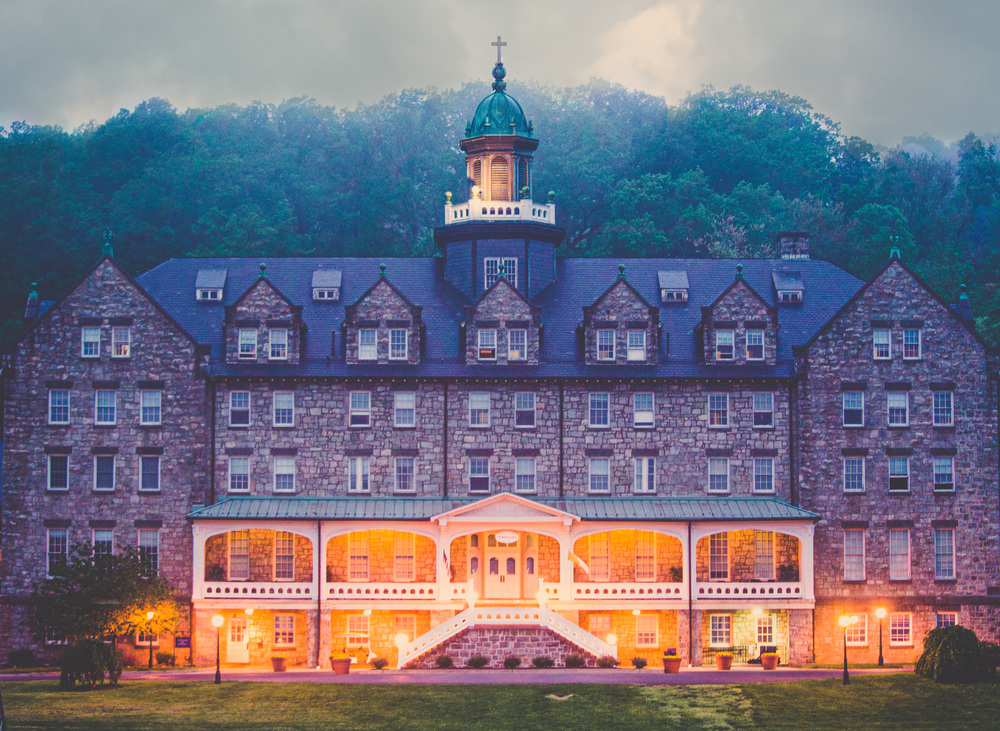 """""""Lauds"""" (c) Rebecca LaChance, 2015, Emmitsburg, MD. I was visually enthralled by the play of light and color on the veranda and the twilight fog surrounding the seminary."""
