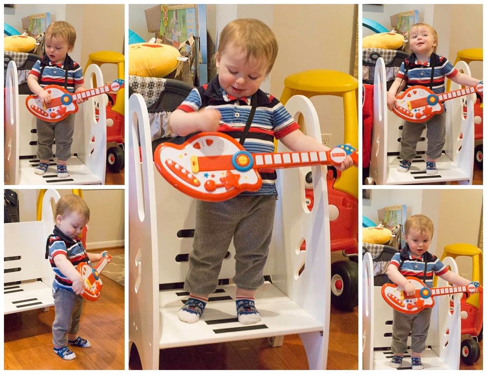 "Henry rocks out for the best audience ever, grandparents and the ""greats"" aunt & uncle. (c) Rebecca LaChance, 2016, Arlington, VA."