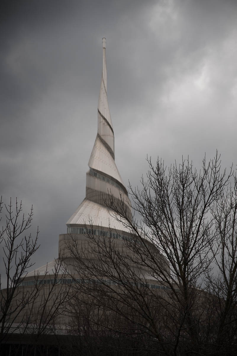 """Community of Christ Temple"" (c) Rebecca LaChance, 2016, Independence, MO.  Such a very strange structure.  I get the architectural metaphor...and I'm wondering...could it have been executed with more symmetry?  As is, it makes my brain itch. Community of Christ was formerly known as ""Reorganized Church of Jesus Christ of Latter Day Saints."""