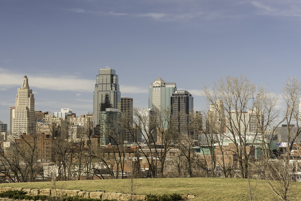 """Kansas City Skyline on a bright day"". (c) Rebecca LaChance, 2016. Kansas City, MO.  This view can be seen from the park that sits just below Childrens Mercy Hospital.  Kansas City is much bigger than I thought! How provincial of me..."