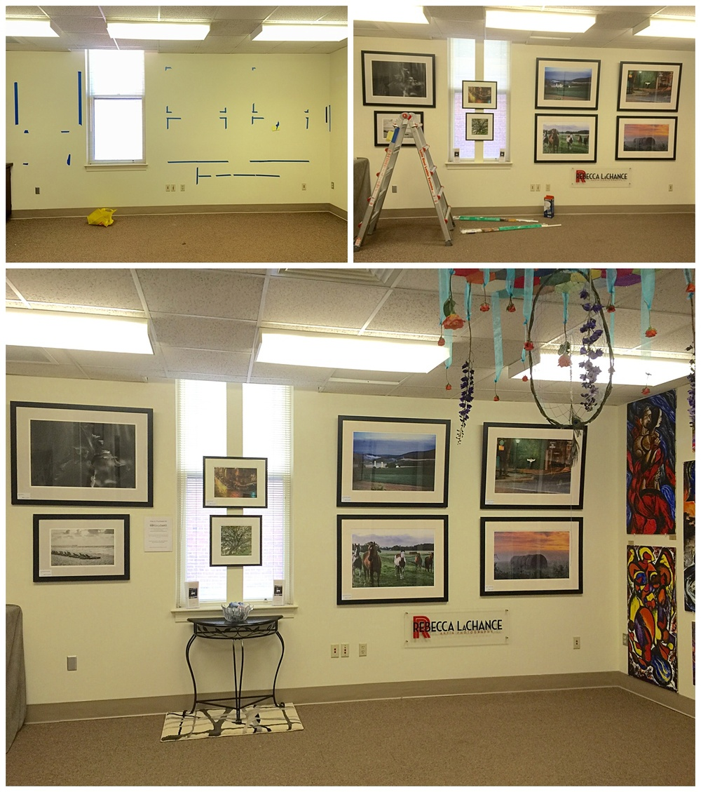 The progression of my space in Room 16, Bldg. 117.  It's on the first floor...easy-peasy to get to and to see.  And look at all the exciting art in this room - even from the ceiling!  You should see what's on the floor!  Check out the wine bar in the basement! Yes, indeedy, I have a wall in the wine bar.