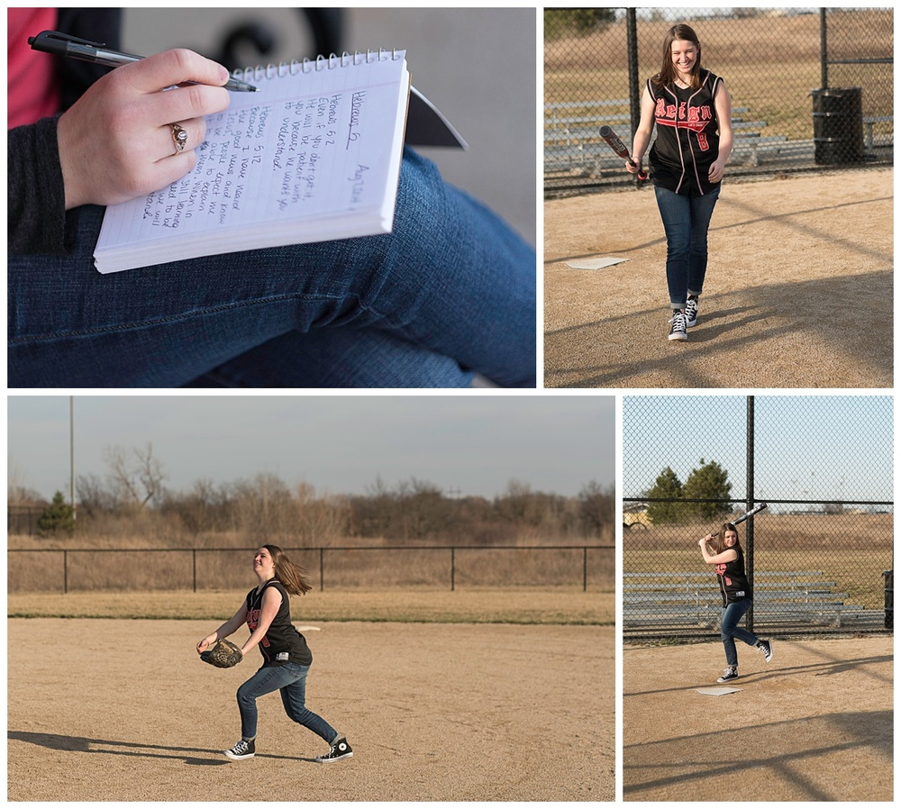 Taylor is reflective. She is an artist and a writer. She has played softball for eleven years.  The last two have been since her diagnosis of type 1 diabetes. (c) Rebecca LaChance, 2016. Kansas City, MO.