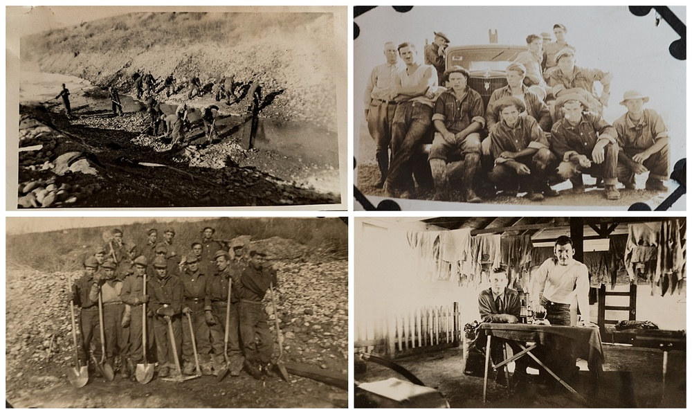 Some of the men and boys who worked to build the dam. The black dots in corners of photos are the the adhesive used to affix the photos into an album.