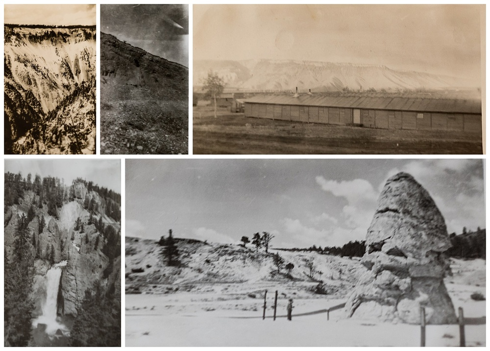 Someone was a good enough photographer to catch an avalanche (top left), some sort of shooting star (no recorded sightings of comets/meteors during those years), the mountains behind the barracks. a waterfall in Yosemite and the stone chimney.  See the tiny person in front of the rock formation?