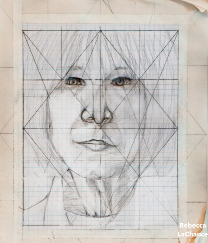 "I use a grid system and  (gasp)  math whenever I get down to ""real"" drawing.  Despite the ridicule from art teachers, math and geometry have been the back bone of age-old artistic endeavors. Not to mention, both tools support my need for structure. Photo/self portrait (c) Rebecca LaChance, 2015"