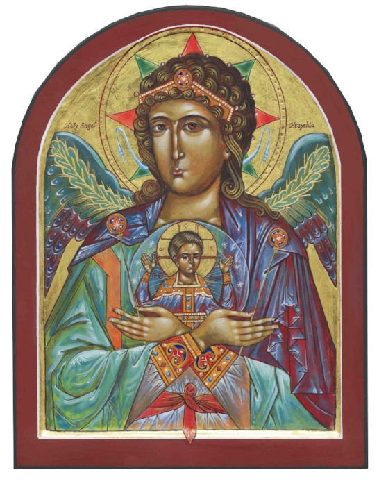 Holy Angel of Hesychia, egg tempera on 12 x 16 walnut, 23.4K gold leaf. Inspired by the work of Vladislav Andrejev. By the hand of Rebecca LaChance, 2013.