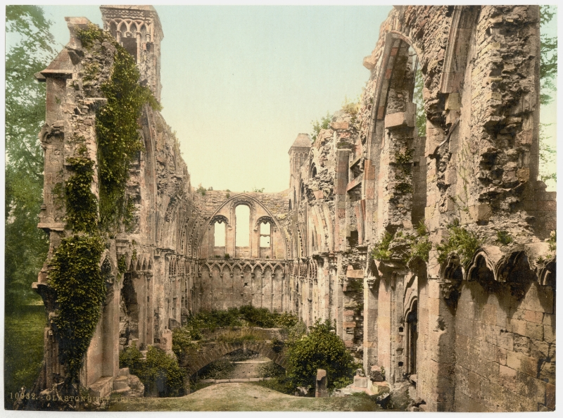 The Lady Chapel at Glastonbury Abbey, Glastonbury, England.  The grounds of the Abbey contain the purported burial sites of King Arthur and Guinevere.  Photochrome taken between 1890 and 1905.  In the public domain.  in 1997, I experienced a deeply spiritual epiphany in this chapel.