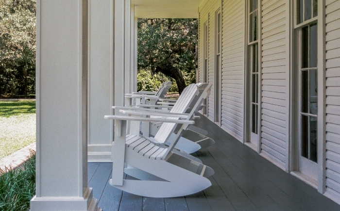 "The perfect setting for relaxing into meditation or contemplation.  ""Rockers on the porch""  (c) Rebecca LaChance, 2015. (film) Wesley Estate, Eden Gardens State Park, Point Washington, FL. a"