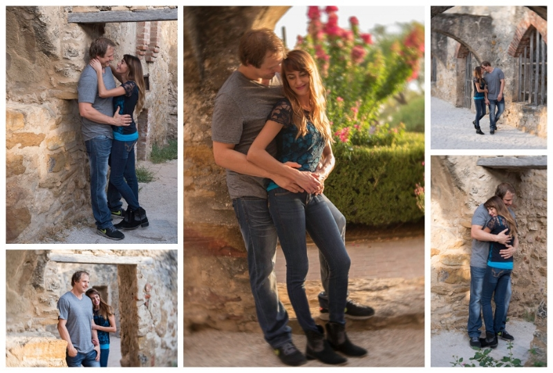 """Romance in the Light"" (c) Rebecca LaChance, 2015. Mission San Jose, San Antonio, TX.  Heck yeah, I can take romantic images!  It wasn't always easy to get a good angle of the couple because there were about 50 other photographers in this group! This was a very popular breakout session. I suspect many were engagement/wedding photographers, or wanted to be wedding photographers, and really needed to get portfolio images."