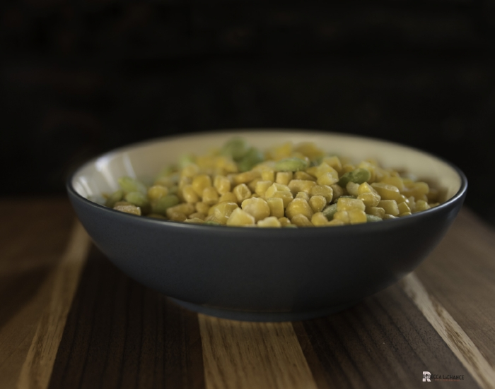 "It's a good thing the Hubster likes succotash.  This bowl won't go to waste. ""Succotash in blue bowl."" (c)Rebecca LaChance, 2106. Thurmont, MD."