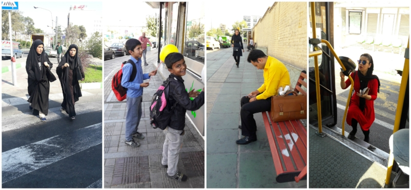 Daily life in Iran; ladies walking through town, happy children with infectious smiles, being engaged with the cell phone, and using public transportation.