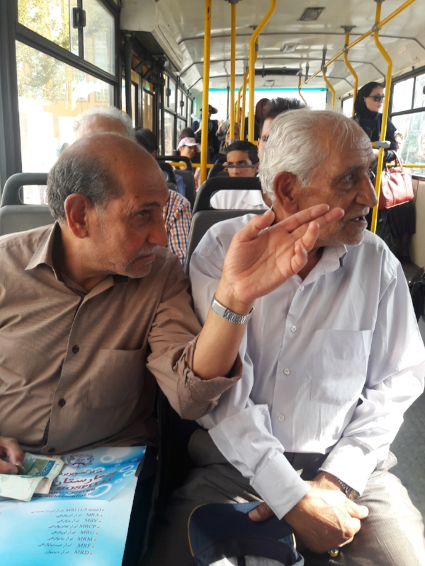 Riding the bus in Iran.