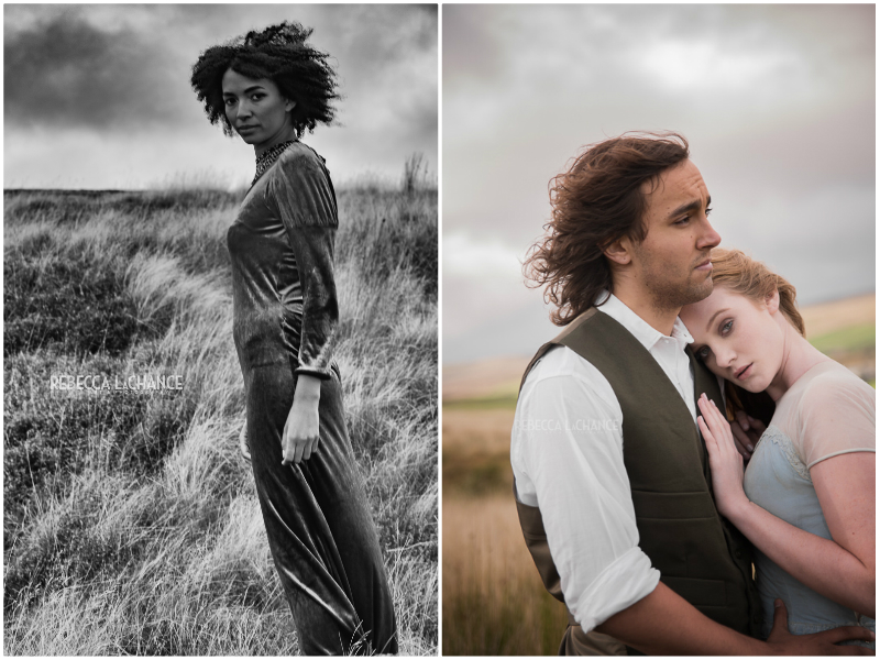 "(l) ""Cathy contemplates her decision"" (c) Rebecca LaChance, 2016, Model: Aisling Serrant(r) ""What follows me forward if I should stay with my heart?"" Heathcliff and Cathy on their beloved moors. (c) Rebecca LaChance, 2016. Models: Zak Derler and Emma McNeil.  HMUA: Lauren Rippin. Styling: Caroline Brown. Compelling Portraiture with Carolyn Mendelsohn."